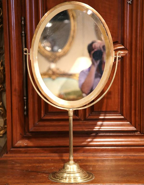Beveled Glass Centerpiece Mirrors : Th century french bronze vanity tilt mirror with double
