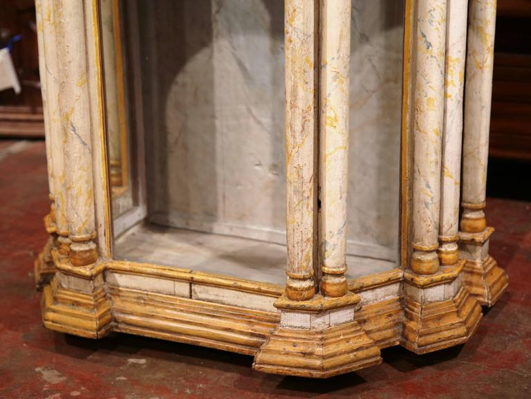 Hand-Carved 18th Century Italian Carved Painted Reliquary Cabinet with Glass Door and Sides For Sale