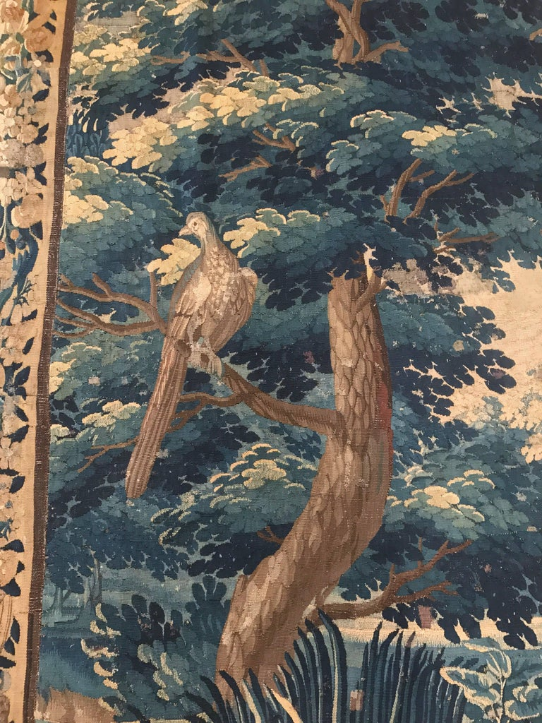 large 18th century french aubusson verdure tapestry with birds and