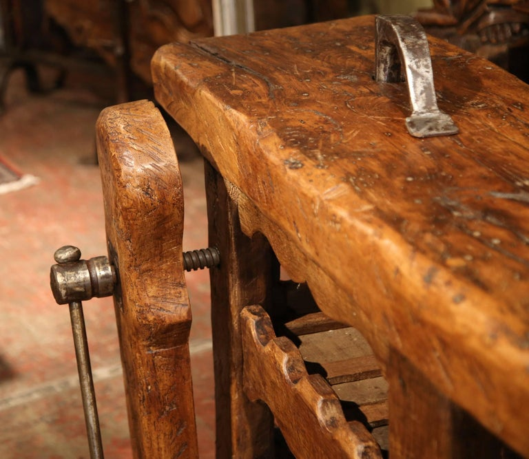 19th Century Rustic French Carpenter Press Table With Wine