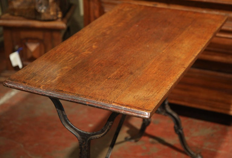 Early 20th Century, French Iron and Wood Parisian Cafe Bistrot Table For Sale 2