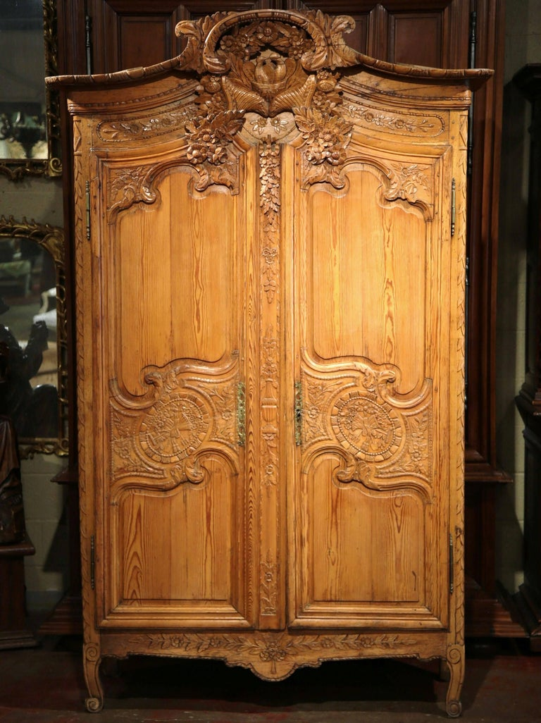 18th Century French Louis Xv Carved Pine Wedding Armoire From