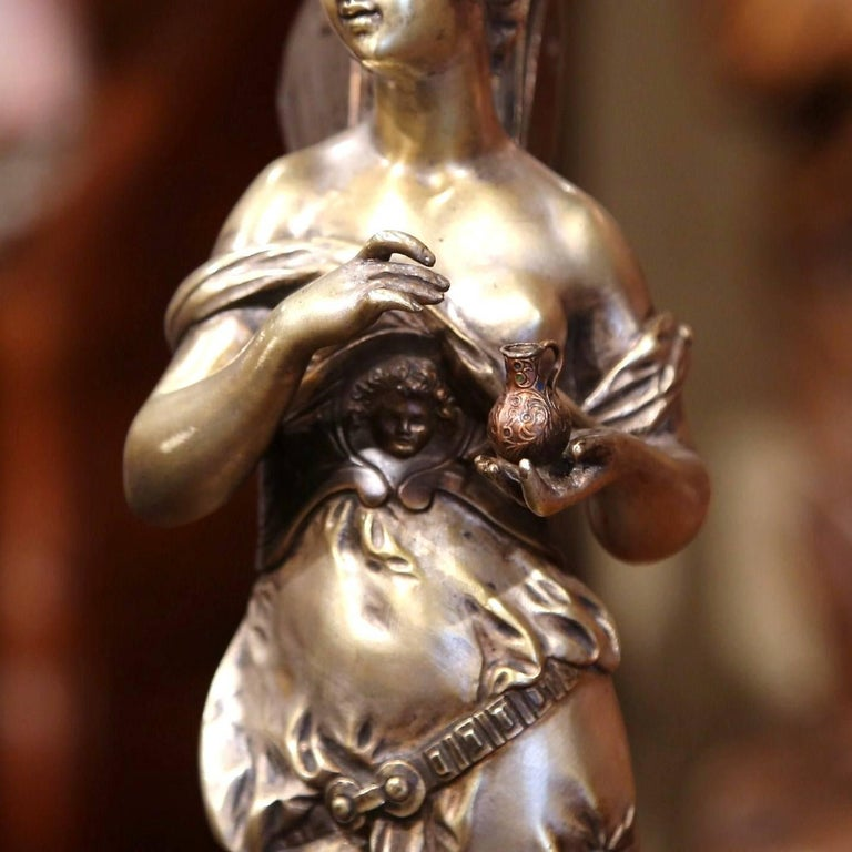 19th Century French Silvered Bronze Roman Woman Statue Standing on Dolphin For Sale 4