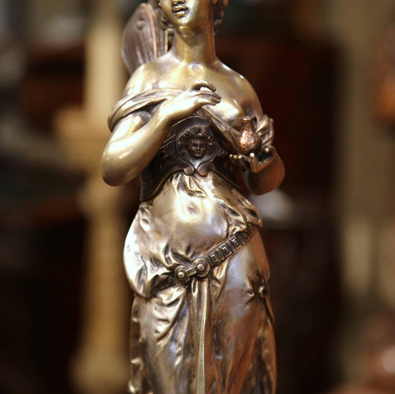 19th Century French Silvered Bronze Roman Woman Statue Standing on Dolphin For Sale 1