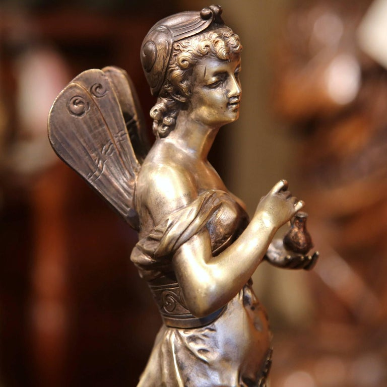 19th Century French Silvered Bronze Roman Woman Statue Standing on Dolphin For Sale 2