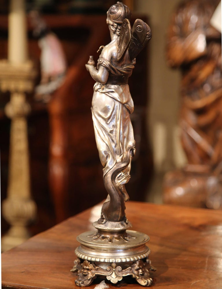 19th Century French Silvered Bronze Roman Woman Statue Standing on Dolphin For Sale 3
