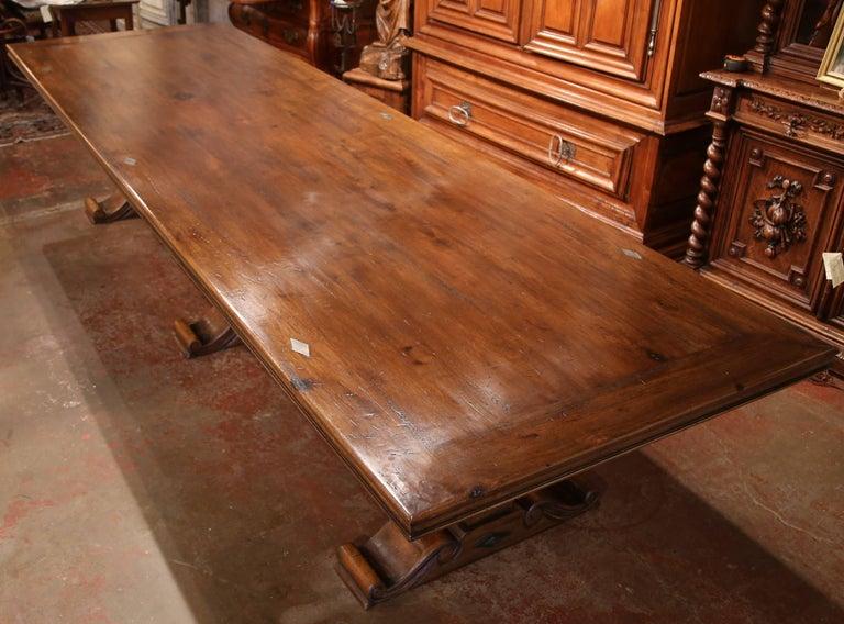 Large Carved Walnut Three Leg Pedestal Farm Table With