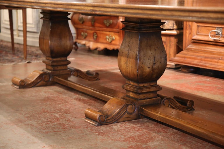 Large Carved Walnut Three Leg Pedestal Farm Table With
