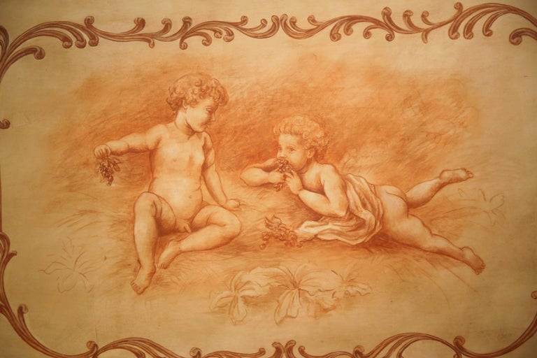Louis XIV 19th Century French Carved Painted Wood Panel Frame with Cherubs Eating Grapes For Sale