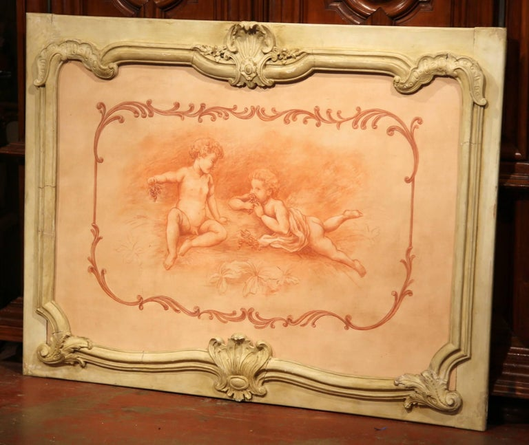 19th Century French Carved Painted Wood Panel Frame with Cherubs Eating Grapes In Good Condition For Sale In Dallas, TX