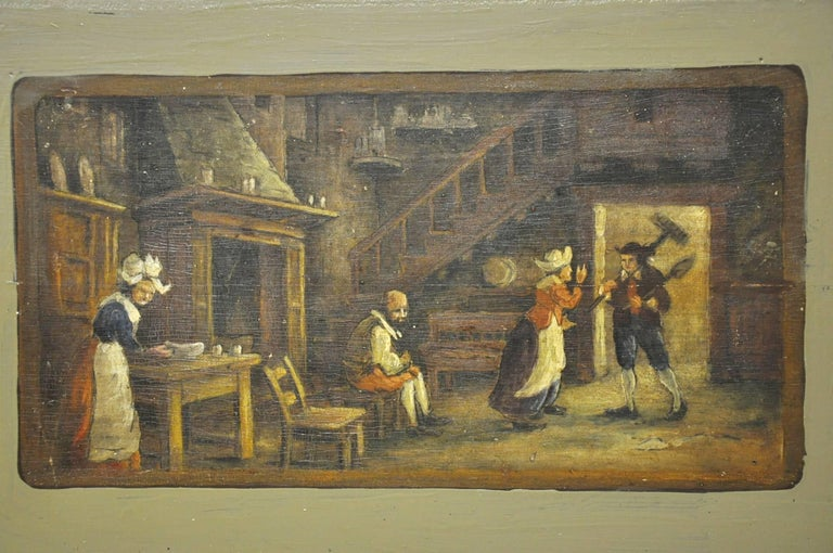 Pair of 19th Century French Hand Painted Wood Panels in the Manner of Teniers In Excellent Condition For Sale In Dallas, TX