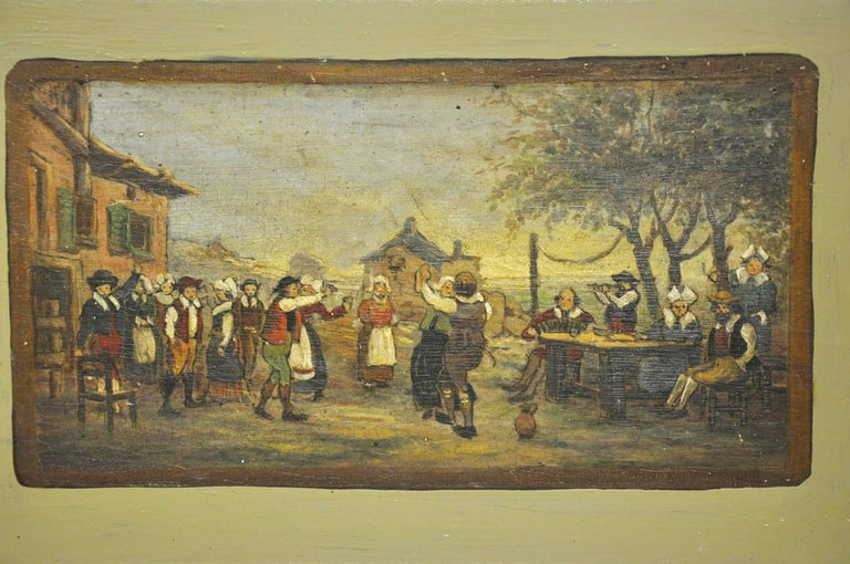 Pair of 19th Century French Hand Painted Wood Panels in the Manner of Teniers For Sale 1