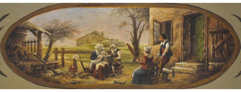Pair of 19th Century French Hand Painted Wood Panels in the Manner of Teniers For Sale 2