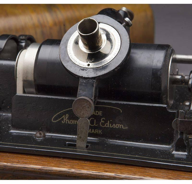 Hand-Carved Early 20th Century Oak Edison Cylinder Phonograph with Casing and 12 Records For Sale