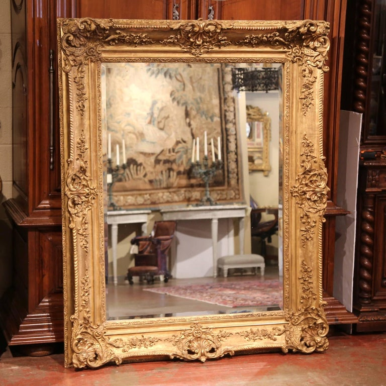 Large 19th Century French Carved Giltwood Wall Mirror with Beveled Glass 2