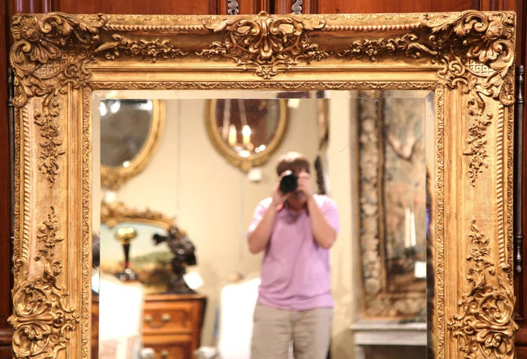 Large 19th Century French Carved Giltwood Wall Mirror with Beveled Glass 3