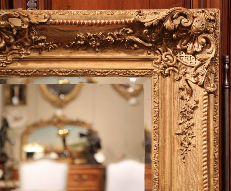 Large 19th Century French Carved Giltwood Wall Mirror with Beveled Glass 5