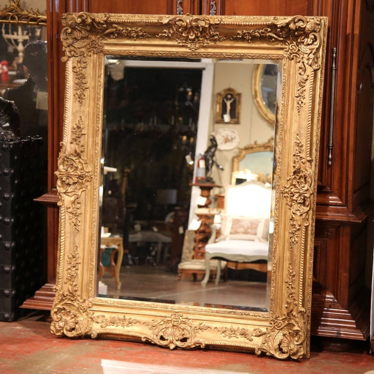 Large 19th Century French Carved Giltwood Wall Mirror with Beveled Glass 6