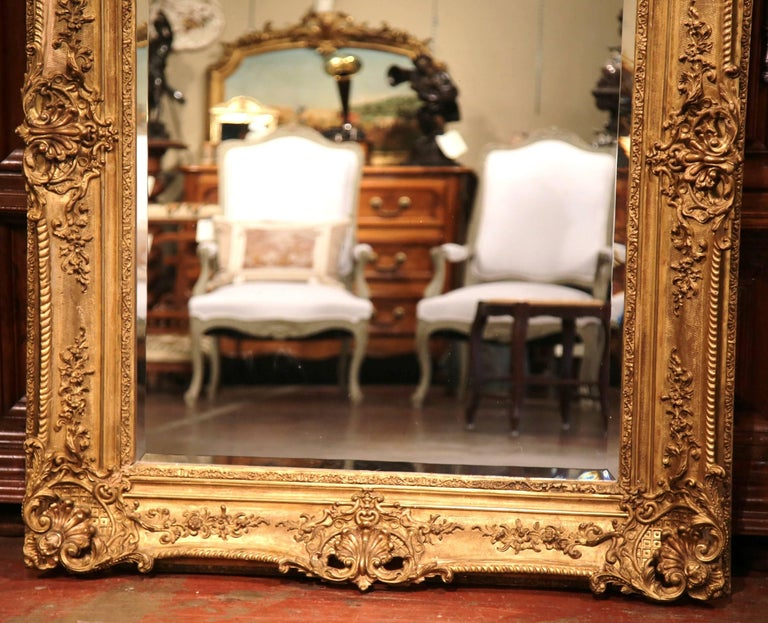 Large 19th Century French Carved Giltwood Wall Mirror with Beveled Glass 7