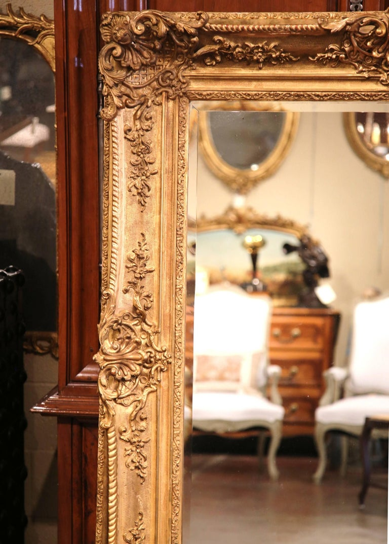 Large 19th Century French Carved Giltwood Wall Mirror with Beveled Glass 8