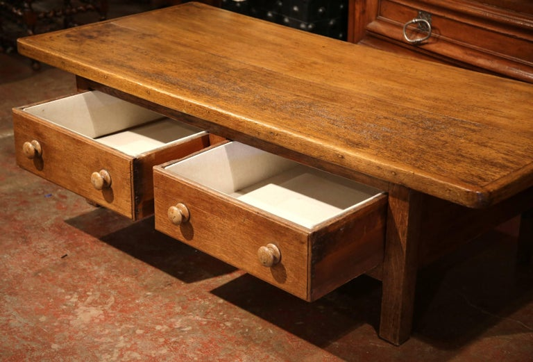 Large 19th century country french two drawer pearwood and for Large coffee table with drawers