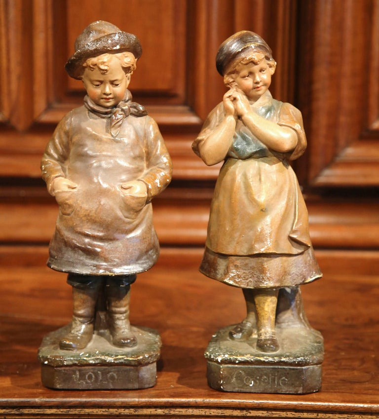 Pair of Early 20th Century French Painted Terracotta Sculptures Signed F. Citti In Good Condition For Sale In Dallas, TX