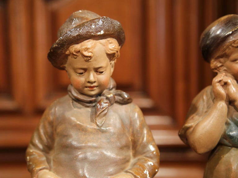 Pair of Early 20th Century French Painted Terracotta Sculptures Signed F. Citti For Sale 1