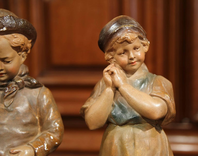 Pair of Early 20th Century French Painted Terracotta Sculptures Signed F. Citti For Sale 2