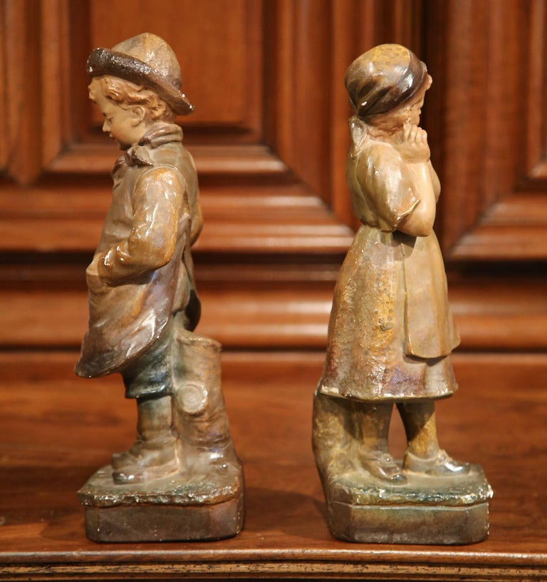Pair of Early 20th Century French Painted Terracotta Sculptures Signed F. Citti For Sale 3