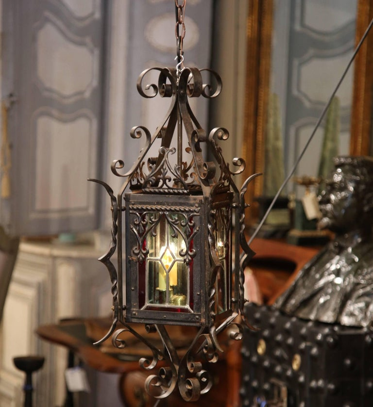 19th Century French Napoleon III Black Iron Lantern with Stained Glass Panels In Excellent Condition For Sale In Dallas, TX
