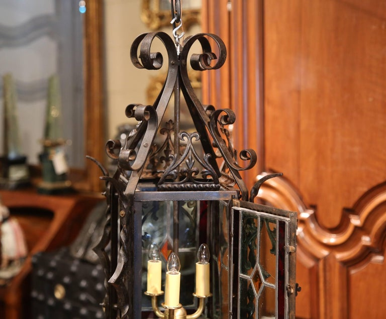 19th Century French Napoleon III Black Iron Lantern with Stained Glass Panels For Sale 3