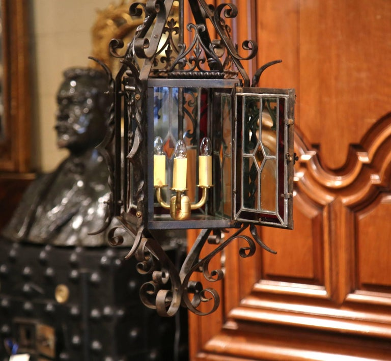 19th Century French Napoleon III Black Iron Lantern with Stained Glass Panels For Sale 2