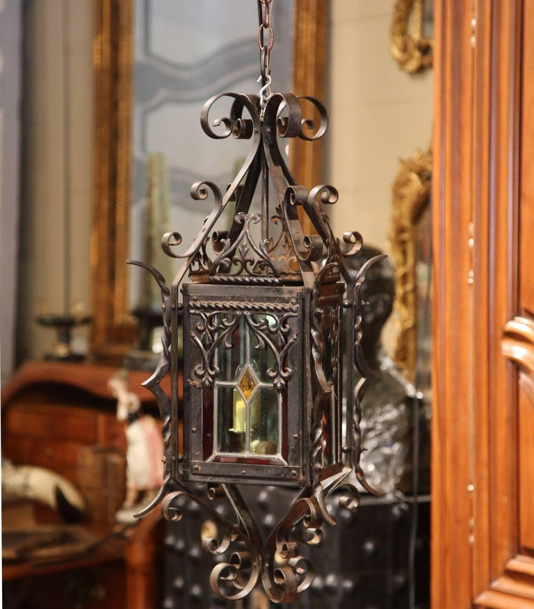 Gothic 19th Century French Napoleon III Black Iron Lantern with Stained Glass Panels For Sale