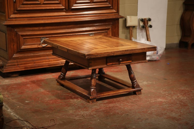18th Century French Walnut Coffee Table With Drawers And