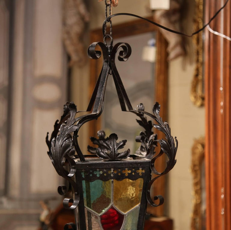 19th Century, French Napoleon III Black Iron Lantern with Stained Glass Panels For Sale 2