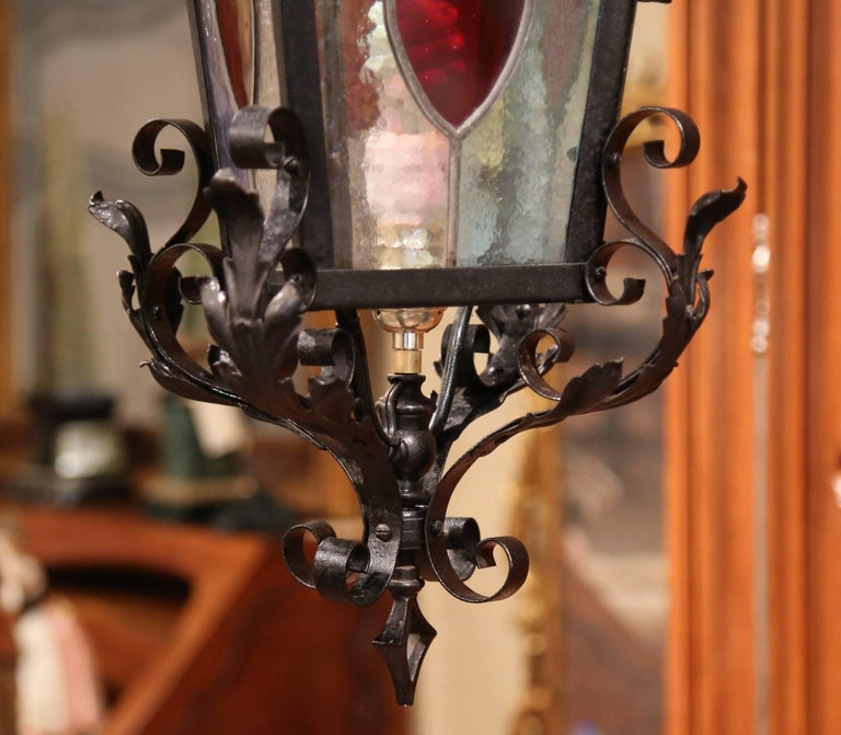 19th Century, French Napoleon III Black Iron Lantern with Stained Glass Panels For Sale 3