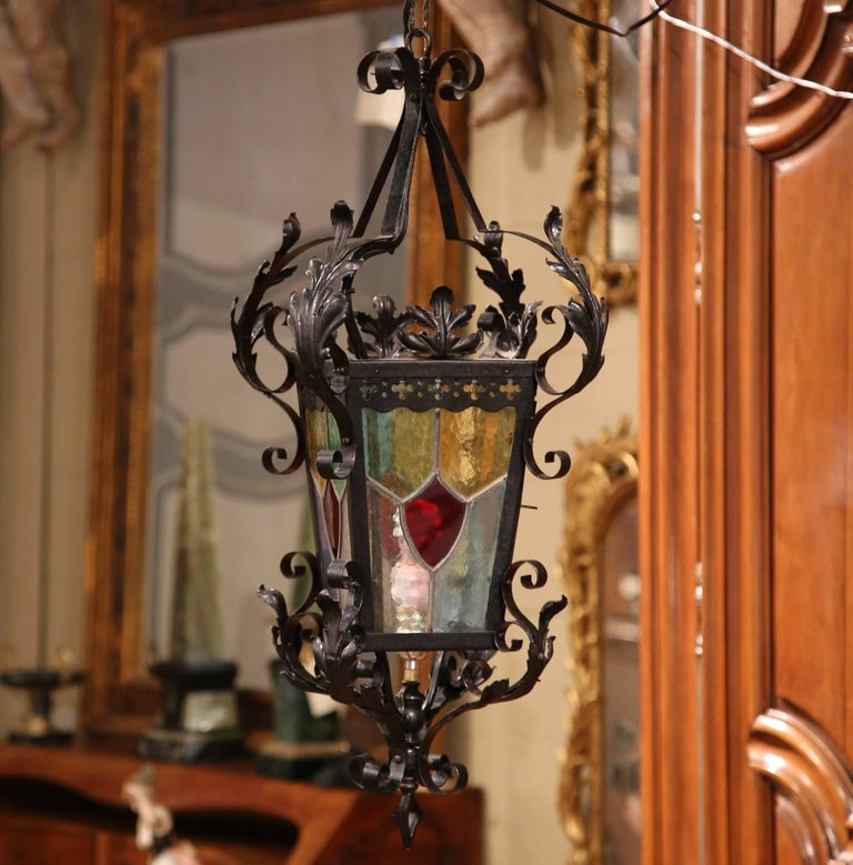19th Century, French Napoleon III Black Iron Lantern with Stained Glass Panels For Sale 1