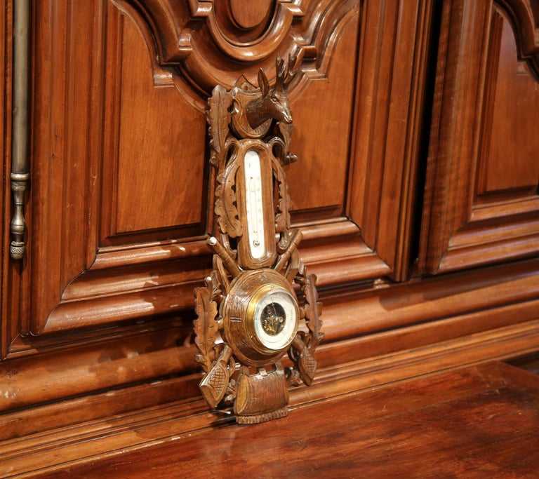 19th Century French Carved Walnut Black Forest Barometer with Deer and Gun Decor For Sale 3