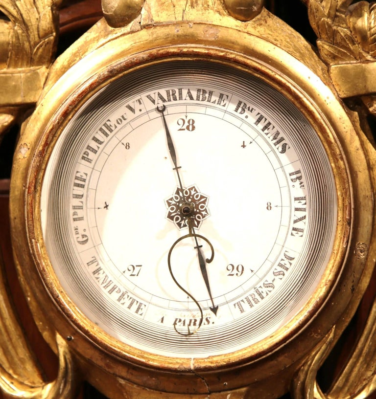 Hand-Carved Mid-18th Century French Louis XVI Carved Giltwood Wall Barometer with Sun Decor For Sale
