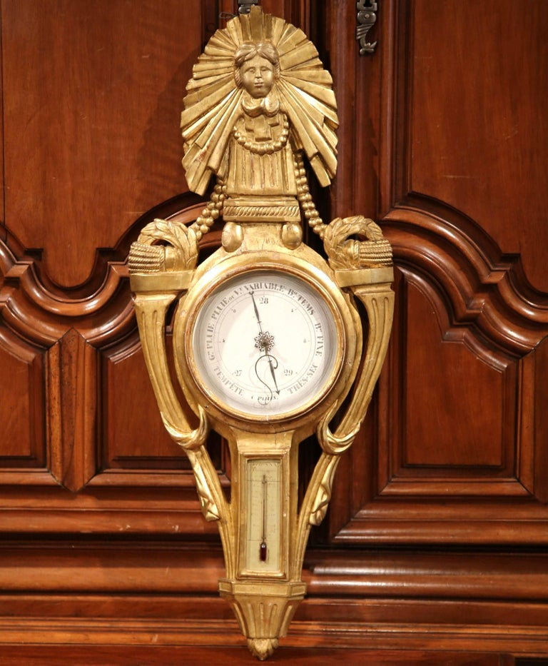 Mid-18th Century French Louis XVI Carved Giltwood Wall Barometer with Sun Decor For Sale 1