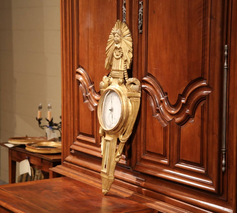 Mid-18th Century French Louis XVI Carved Giltwood Wall Barometer with Sun Decor For Sale 3