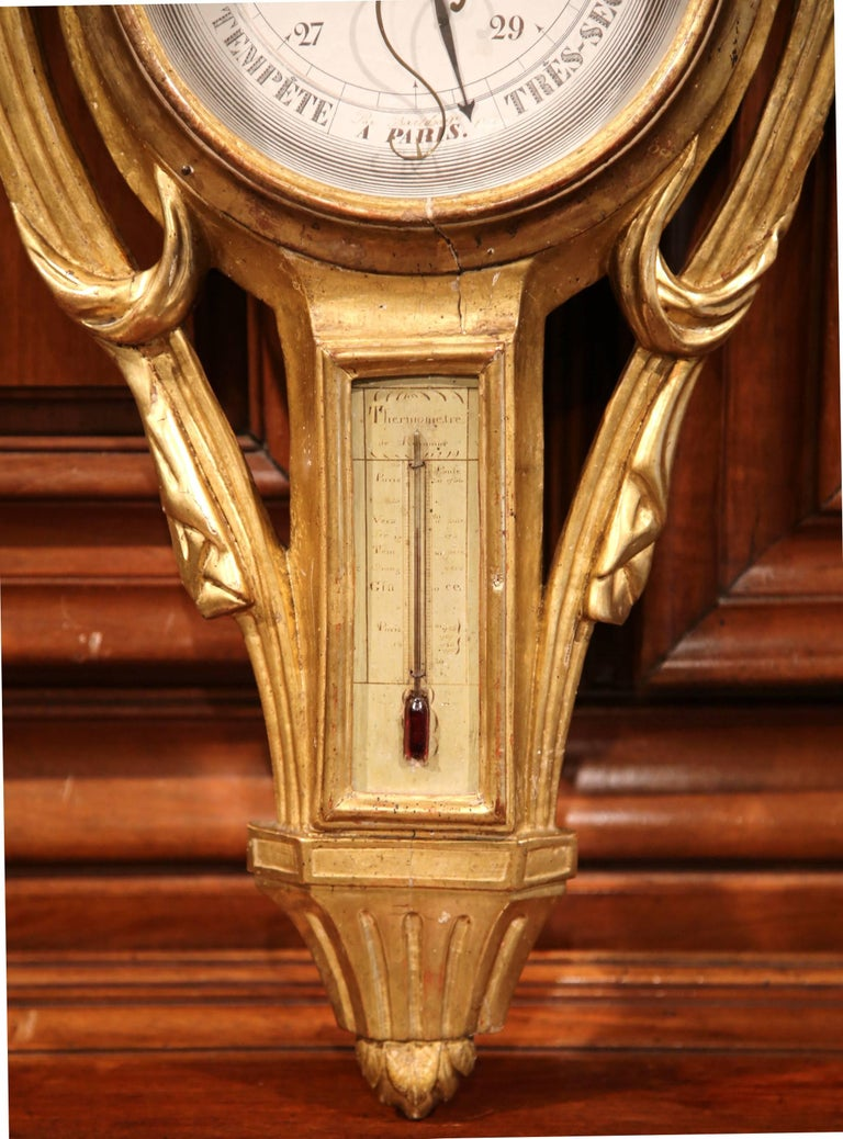 Mid-18th Century French Louis XVI Carved Giltwood Wall Barometer with Sun Decor In Good Condition For Sale In Dallas, TX