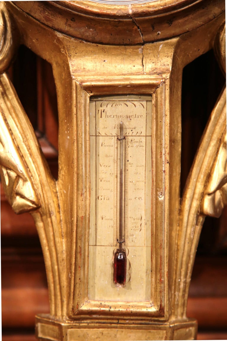 Mid-18th Century French Louis XVI Carved Giltwood Wall Barometer with Sun Decor For Sale 2