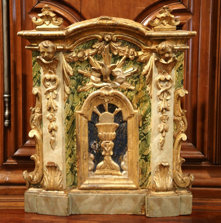 18th Century Italian Carved Giltwood and Polychrome Tabernacle Facade with Door For Sale 2