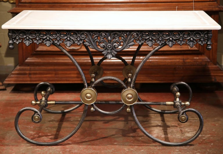 Polished French Iron and Brass Mounts Butcher or Pastry Table with Marble Top In Excellent Condition For Sale In Dallas, TX