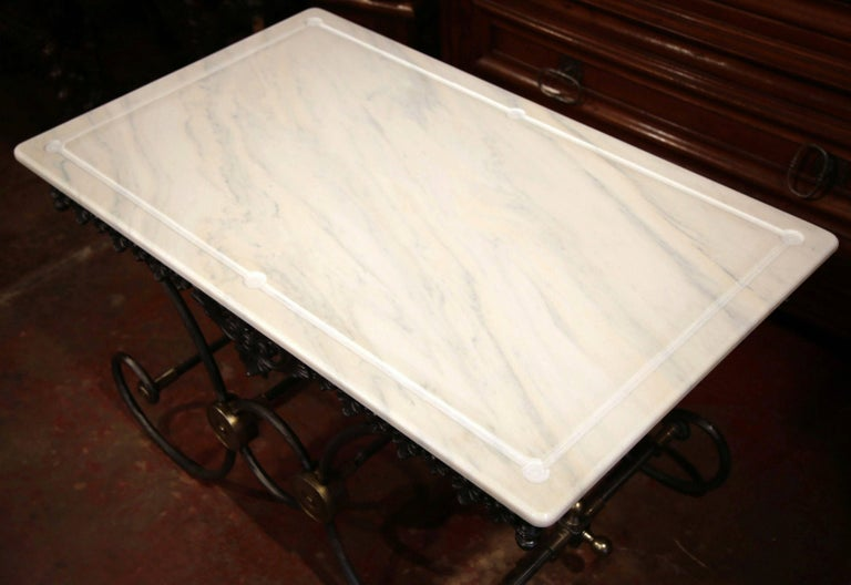Contemporary Polished French Iron and Brass Mounts Butcher or Pastry Table with Marble Top For Sale