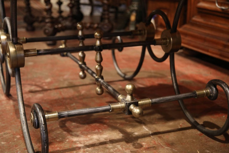Polished French Iron and Brass Mounts Butcher or Pastry Table with Marble Top For Sale 4