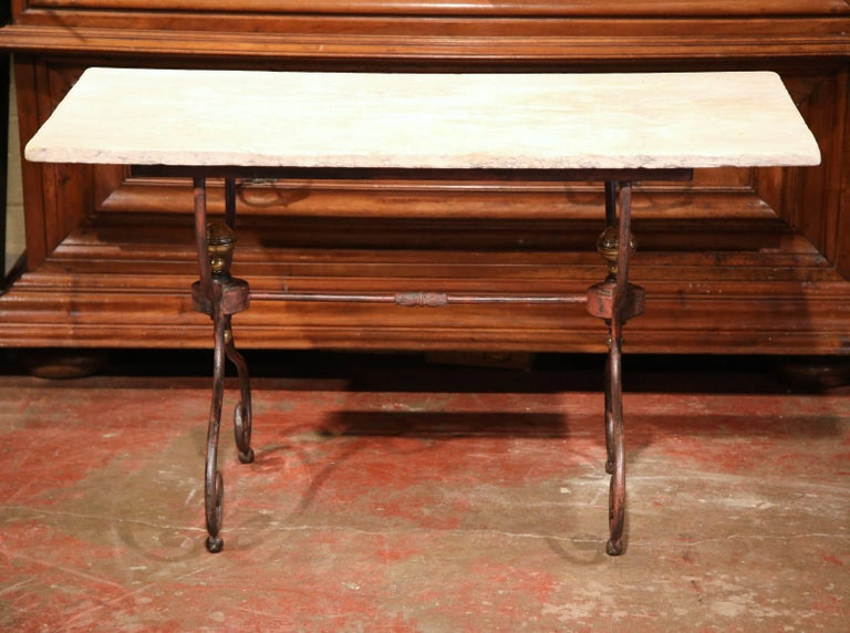 Forged 19th Century French Iron Bistrot Table with Stone Top and Bronze Mounts For Sale