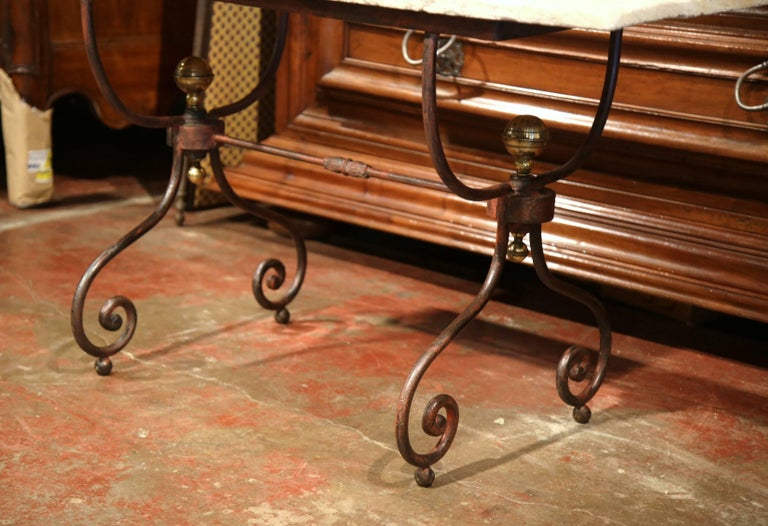 19th Century French Iron Bistrot Table with Stone Top and Bronze Mounts For Sale 2