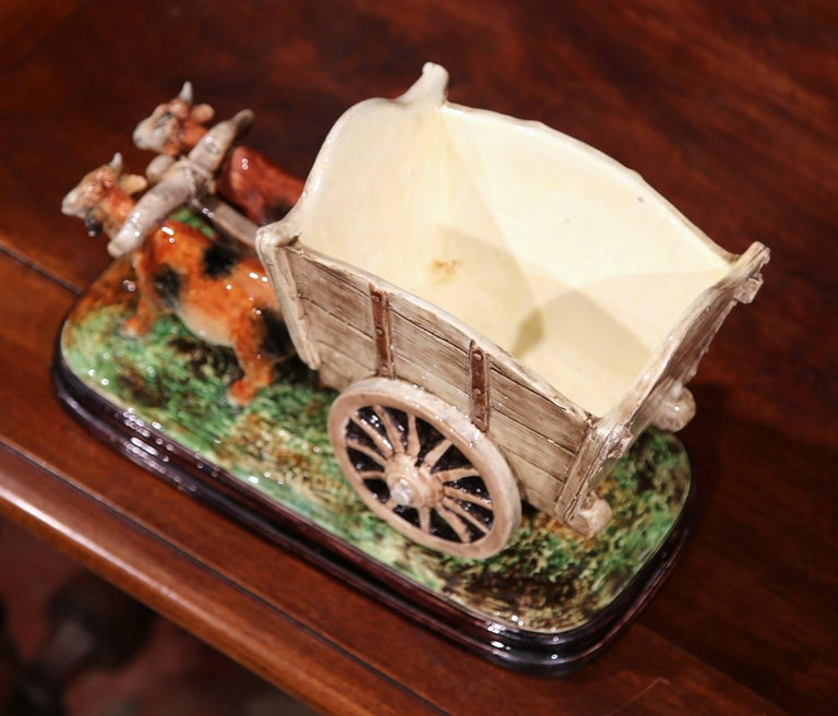 19th Century French Hand-Painted Ceramic Barbotine Jardinière Signed D. Massier In Excellent Condition For Sale In Dallas, TX